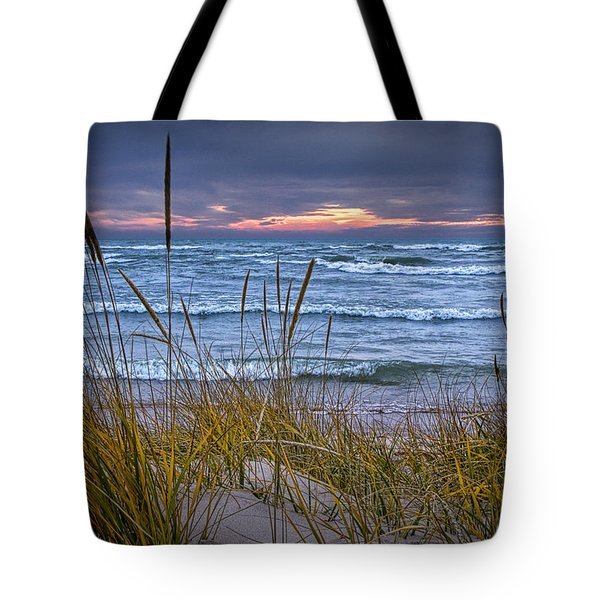 Sunset On The Beach At Lake Michigan With Dune Grass Tote Bag