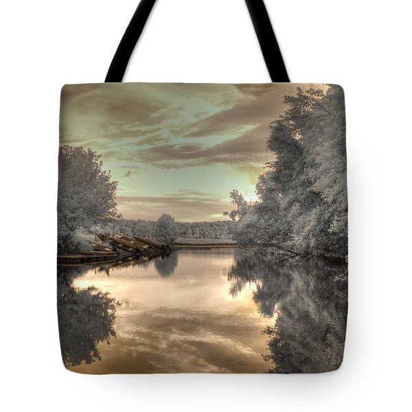 Sunset At The Boathouse Tote Bag by Jane Linders