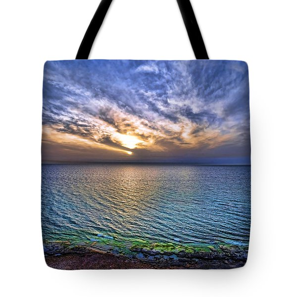 Sunset At The Cliff Beach Tote Bag