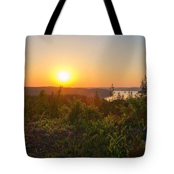 Sunset At The Lake Hiidenvesi Tote Bag