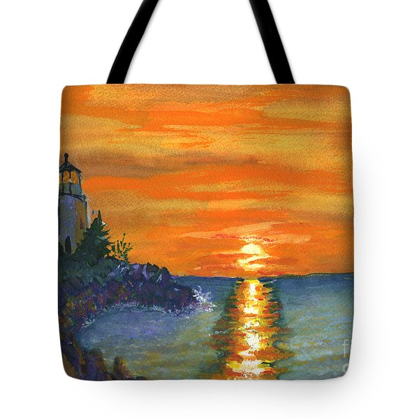 Sunset At The Lighthouse Tote Bag