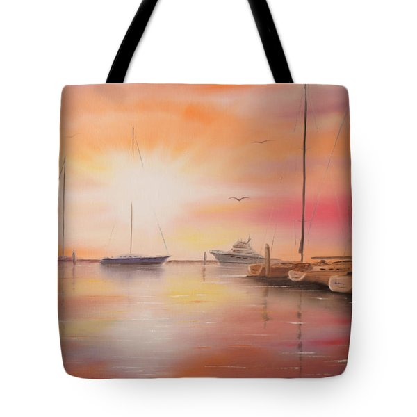Sunset At The Marina Tote Bag
