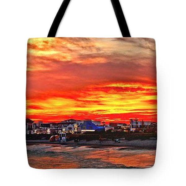 Sunset At The Music Pier Tote Bag by Nick Zelinsky