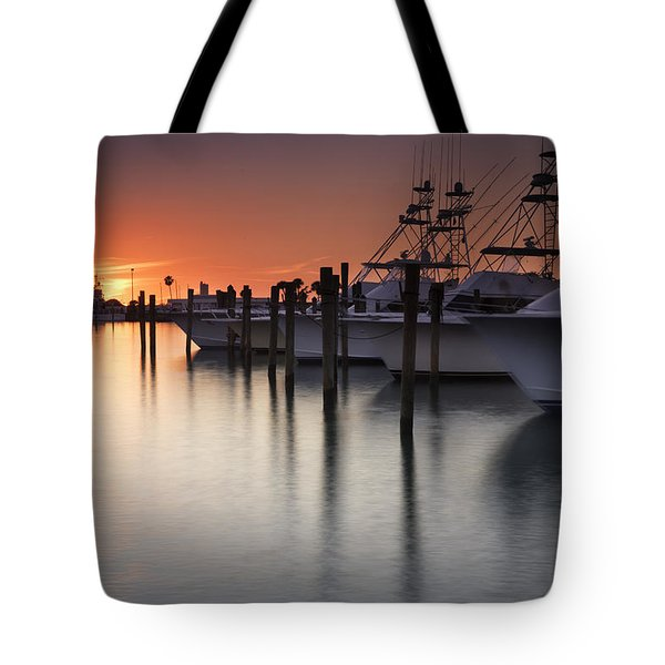 Sunset At The Pelican Yacht Club Tote Bag