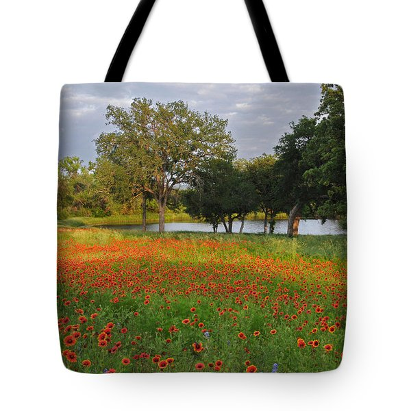 Sunset At The Pond Tote Bag by Lynn Bauer