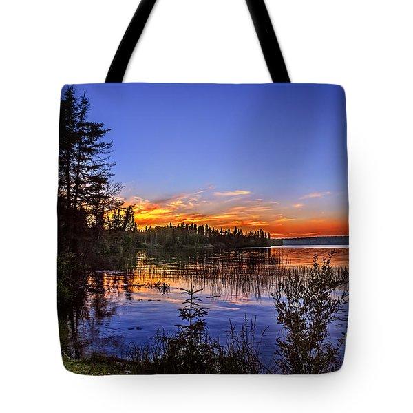 Sunset At The Waskesiu Lake Tote Bag