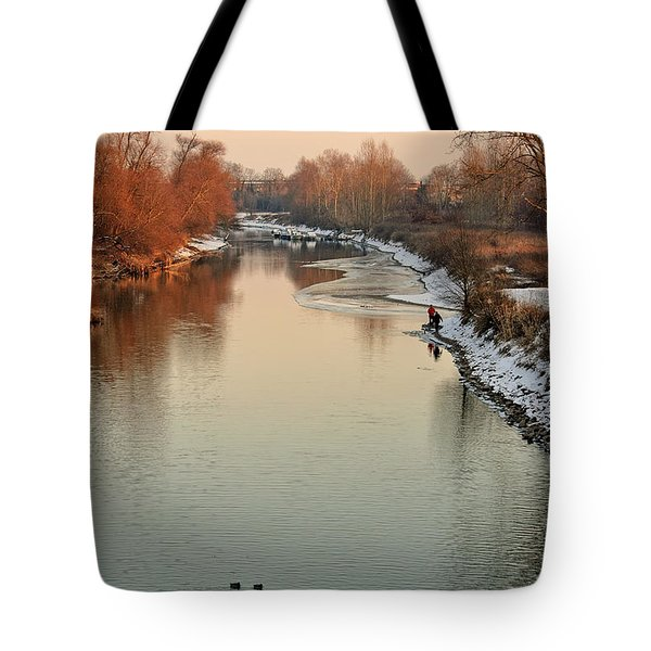 Sunset At The Winterly River Tote Bag