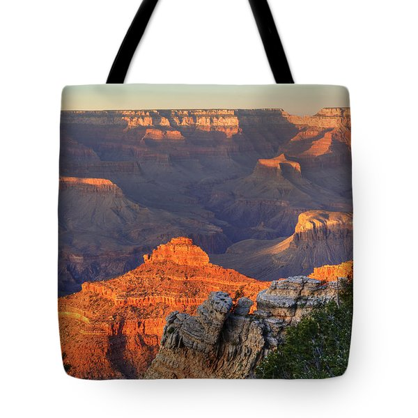 Tote Bag featuring the photograph Sunset At Yaki Point by Alan Vance Ley