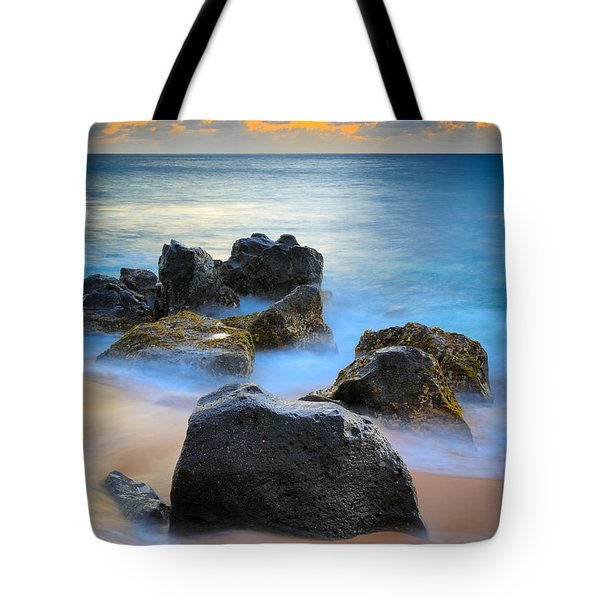 Sunset Beach Rocks Tote Bag by Inge Johnsson