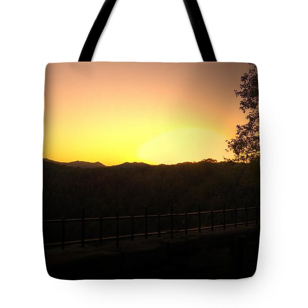 Tote Bag featuring the photograph Sunset Behind Hills by Jonny D