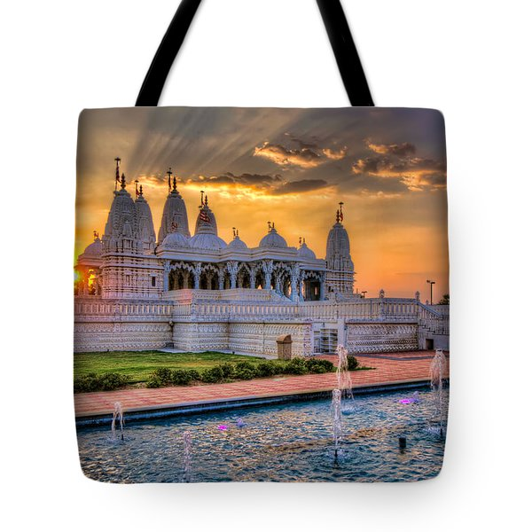Sunset Behind The Mandir Tote Bag by Tim Stanley