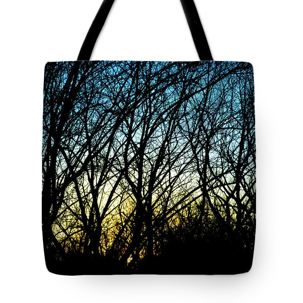 Sunset Behind Trees Tote Bag