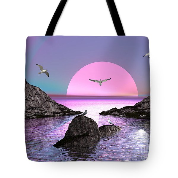 Sunset Birds In Flight Tote Bag