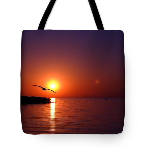 Sunset Blue Tote Bag by Beverly Stapleton