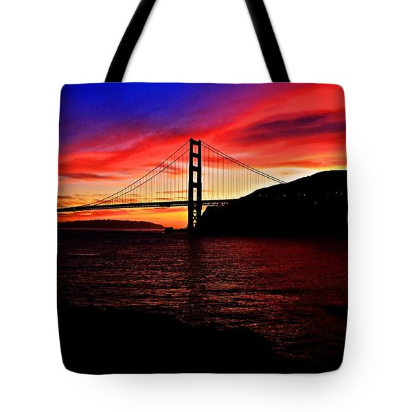 Sunset By The Bay Tote Bag by Dave Files