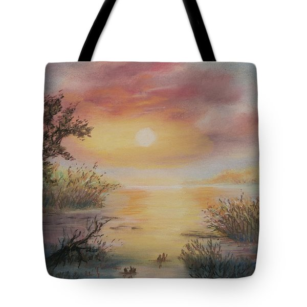 Sunset By The Lake Tote Bag
