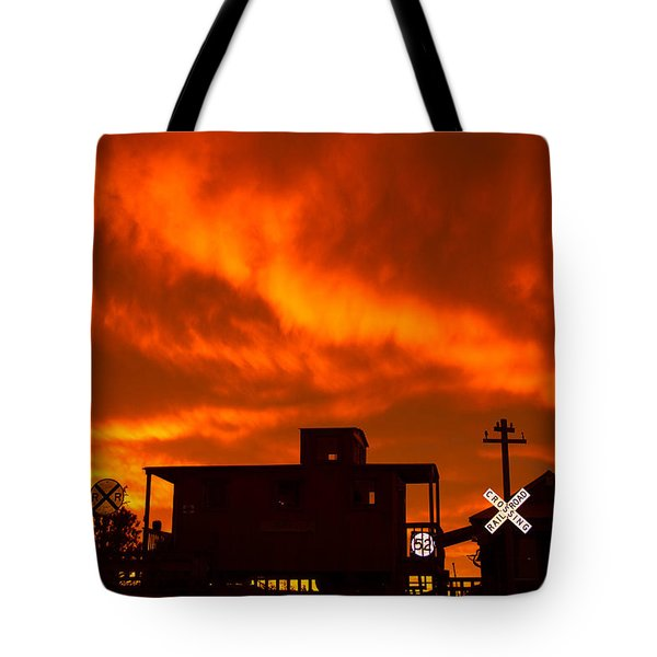 Sunset Caboose Tote Bag