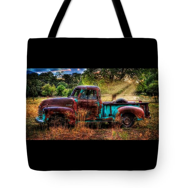 Sunset Chevy Pickup Tote Bag