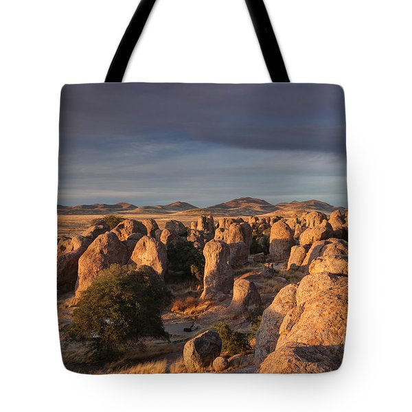 Tote Bag featuring the photograph Sunset City Of Rocks by Martin Konopacki