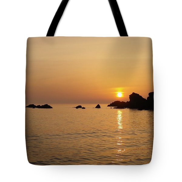 Sunset Crooklets Beach Bude Cornwall Tote Bag by Richard Brookes