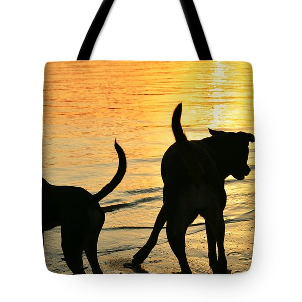 Sunset Dogs  Tote Bag by Laura Fasulo