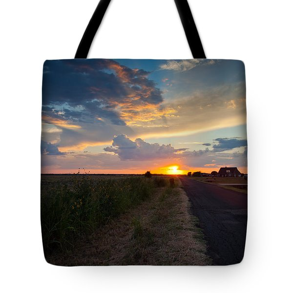 Sunset Down A Country Road Tote Bag