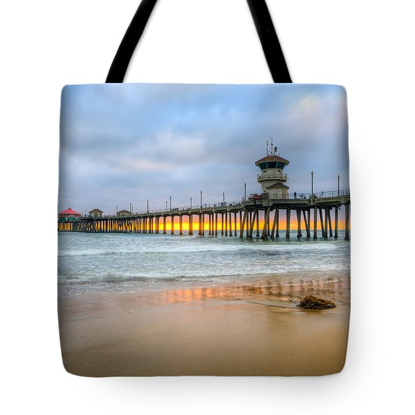 Sunset Drifting Under The Pier Tote Bag