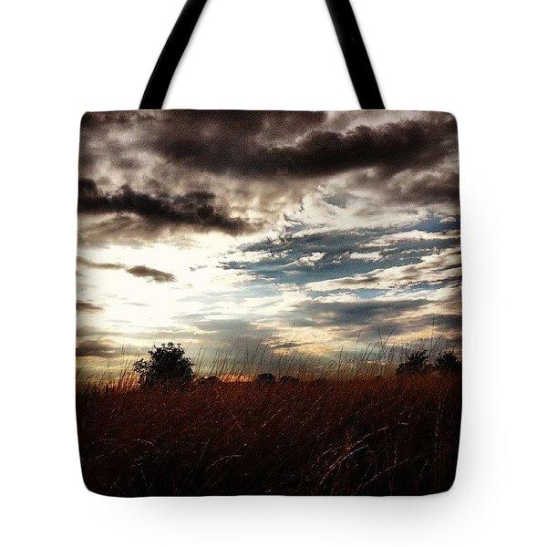 #sunset #dusk #landscape #rural #sky Tote Bag by Vicki Field