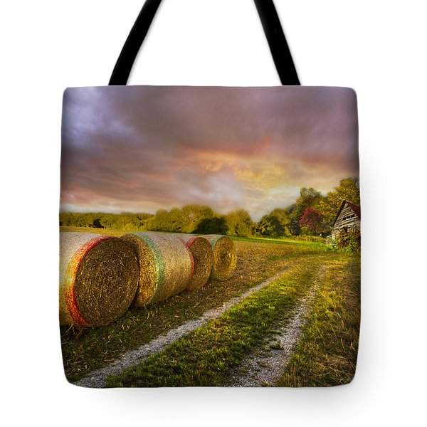 Sunset Farm Tote Bag by Debra and Dave Vanderlaan