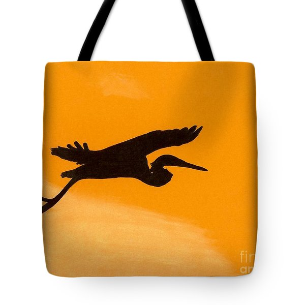 Tote Bag featuring the drawing Sunset Flight by D Hackett