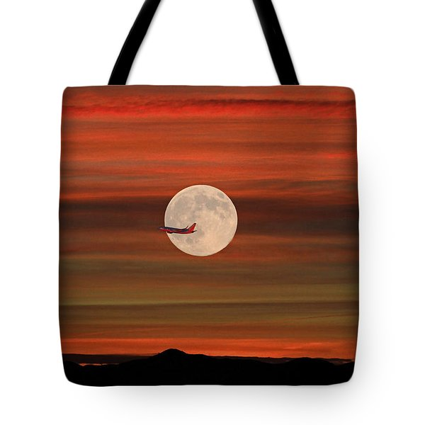Sunset Flight With Full Moon Tote Bag