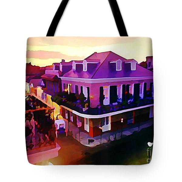 Sunset From The Balcony In The French Quarter Of New Orleans Tote Bag by John Malone