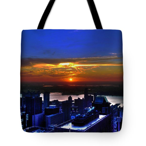 Sunset From The Empire State Building Tote Bag by Randy Aveille