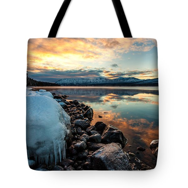Tote Bag featuring the photograph Sunset Frozen by Aaron Aldrich