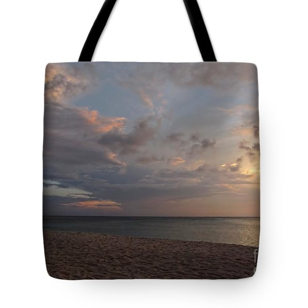 Sunset Grand Cayman Tote Bag by Peggy Hughes