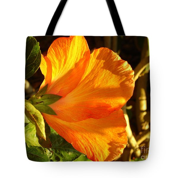 Sunset Hibiscus Tote Bag by Lew Davis