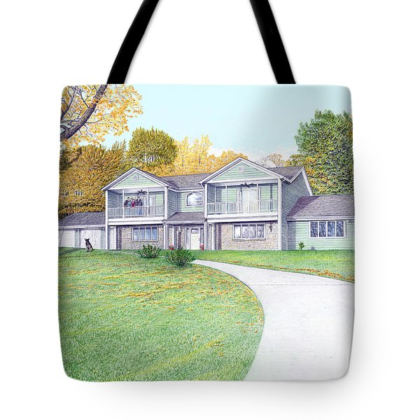 Tote Bag featuring the painting Sunset House In Fall by Albert Puskaric