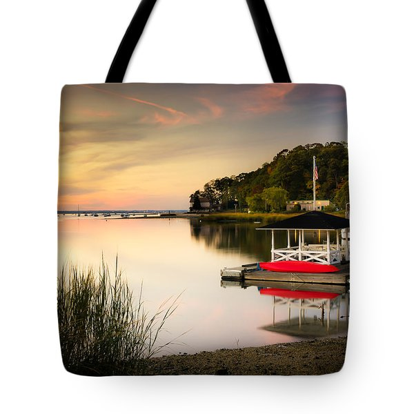 Sunset In Centerport Tote Bag