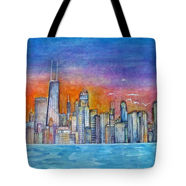 Sunset In Chi Town Tote Bag