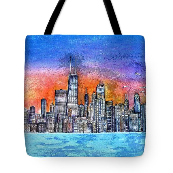 Sunset In Chicago Tote Bag