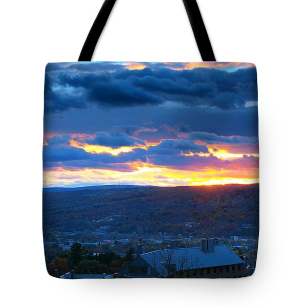 Sunset In Ithaca New York Panoramic Photography Tote Bag by Paul Ge