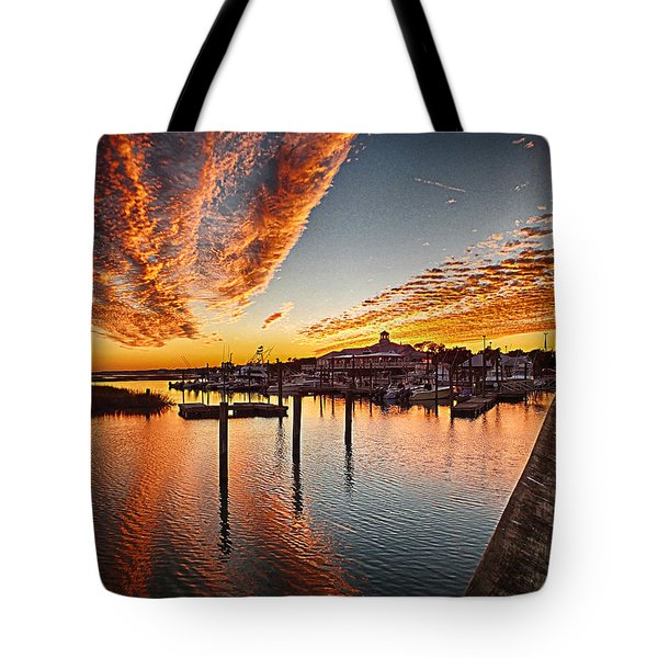 Sunset In Murells Inlet Tote Bag