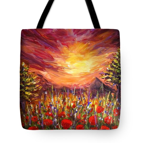 Tote Bag featuring the painting Sunset In Poppy Valley  by Lilia D