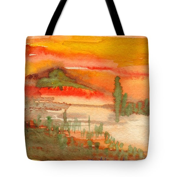 Sunset In Saguaro Desert  Tote Bag