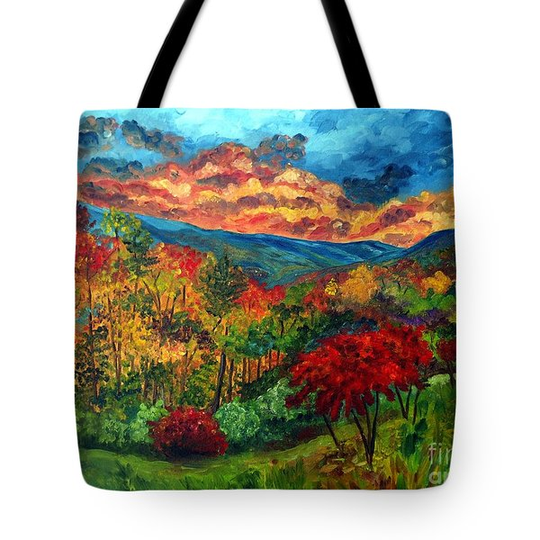Sunset In Shenandoah Valley Tote Bag by Julie Brugh Riffey