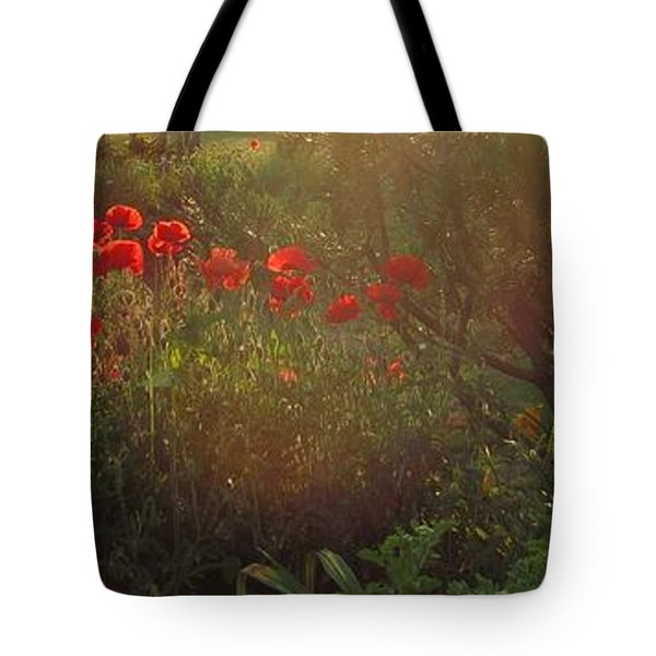 Sunset In The Poppy Garden Tote Bag by Mary Wolf