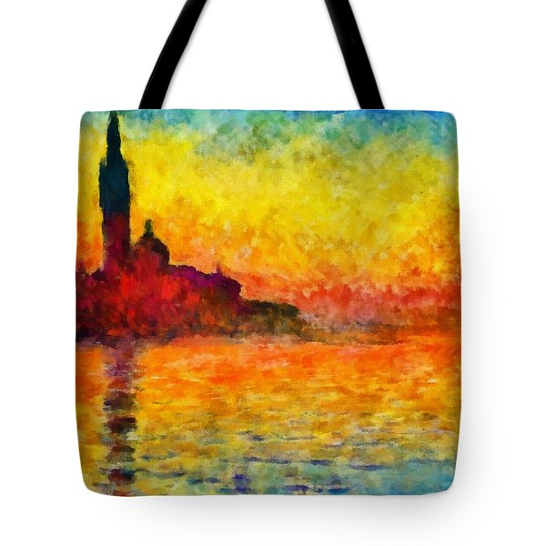 Tote Bag featuring the painting Sunset In Venice by Claude Monet