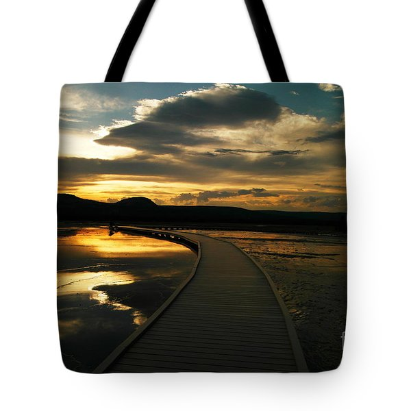 Sunset In Yellow Stone Tote Bag by Jeff Swan