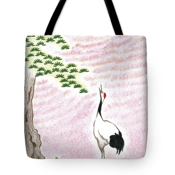 Tote Bag featuring the drawing Sunset by Keiko Katsuta