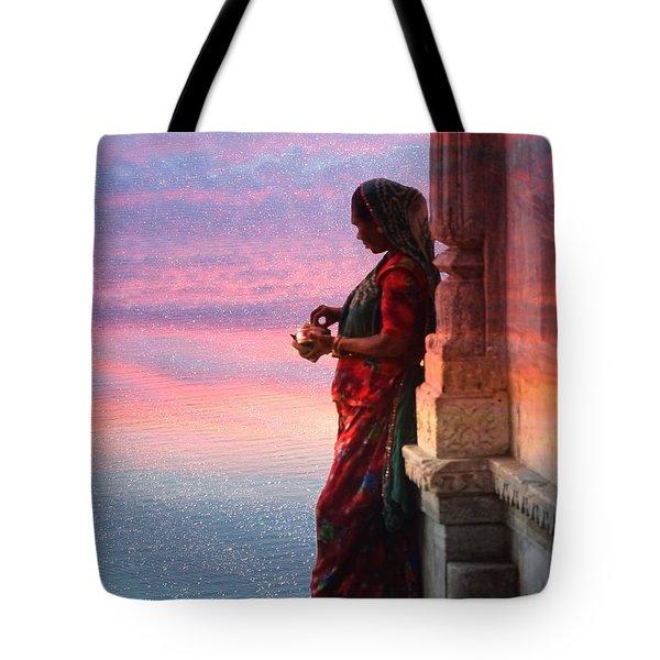 Sunset Lake Colorful Woman Rajasthani Udaipur India Tote Bag